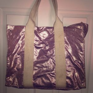 Victoria Secret pink metallic glitter tote travel